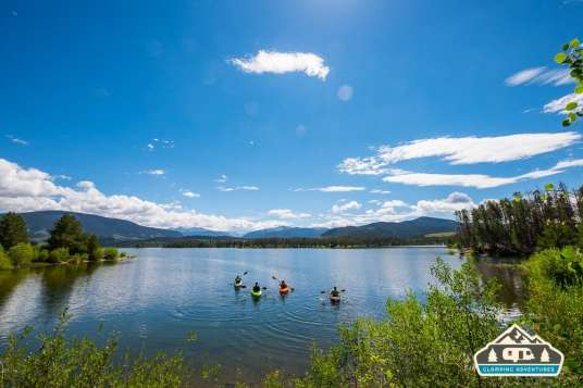 Kayakers heading out at Heaton Bay C.G., Colorado.