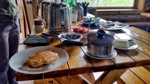 Breakfast cooked up by Aspen Alpine Guides at the Hut