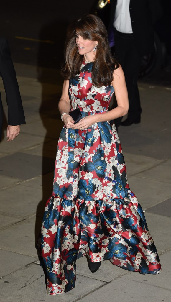 **USA ONLY** London, UK - Catherine Duchess of Cambridge is breathtakingly beautiful in a floral gown as she attends the 100 Women in Hedge Funds Gala Dinner at V&A Museum.     AKM-GSI      October 27, 2015 **USA ONLY**  To License These Photos, Please Contact : Steve Ginsburg (310) 505-8447 (323) 423-9397 steve@akmgsi.com sales@akmgsi.com or Maria Buda (917) 242-1505 mbuda@akmgsi.com ginsburgspalyinc@gmail.com