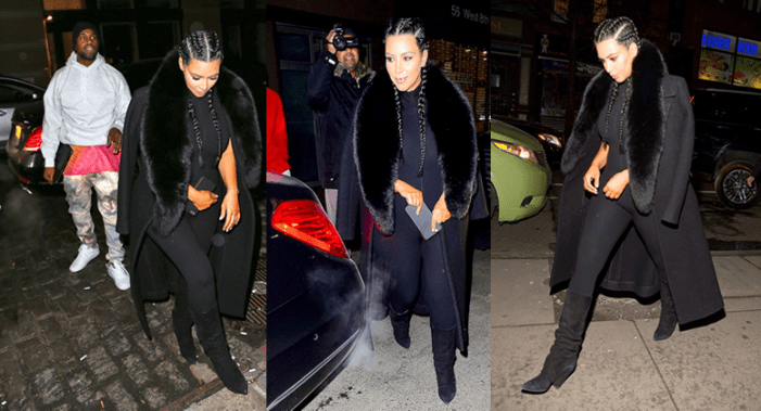 Photos: Kim Kardashian Steps Out in Skintight Black Jumpsuit With Kanye West