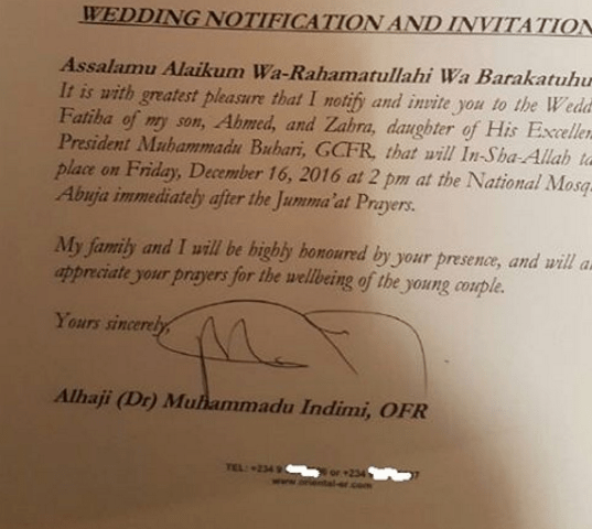 Official Invitation Letter To Zahra Buhari Ahmed Indimi S Wedding