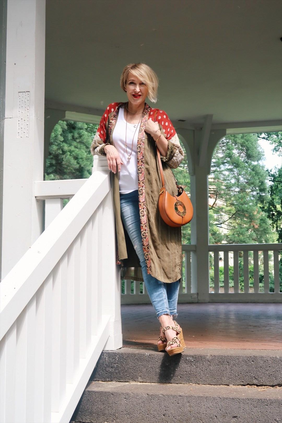 glamupyourlifestyle kimono kimono-trend seidenmantel ue-40-blog ü40-mode fashion-blog skinny-jeans loewe-tasche