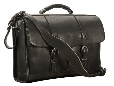 Hand-burnished-black-Flapover-Bag-with-corn-flower-blue-lining;-17-x-12-x-5'
