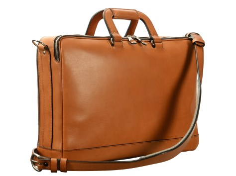 Hand-burnished,-chestnut-Soft-Attache-with-silver-hardware;-17-x-12-x-4'-back
