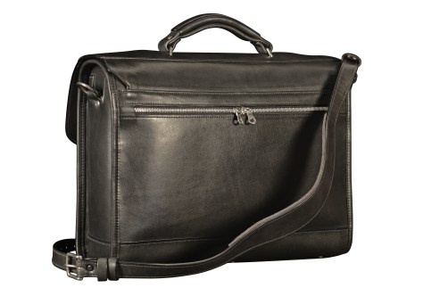 Hand-burnished-black-Headhunter-Flaptop-Bag;-16-x-12-x-4'-back