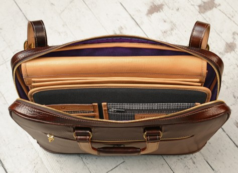 Hand-grained-hand-colored-espresso-Platform-Portfolio-with-purple-lining-and-shoulder-strap;-16-x-11-x-4'-topdown2