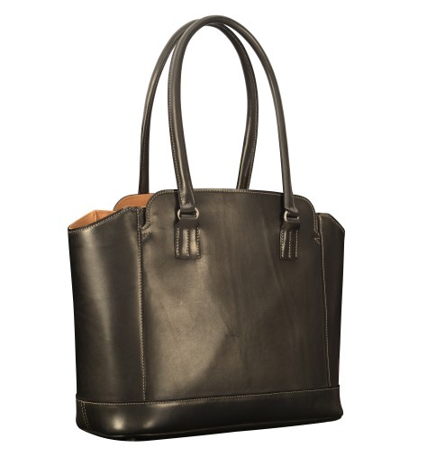 Hand-burnished-black-City-Tote-with-hand-grained-natural-trim-and-royal-blue-grosgrain-lining;-14-x-11-x-6""