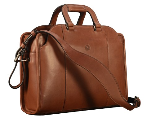 Hand-burnished-espresso-Day-Bag-with-tangerine-grosgrain-lining;-16-x-11-x-4