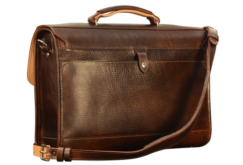 Hand-grained,-hand-colored-espresso-Flaptop-Bag-with-hand-grained-natural-trim;-17-x-12-x-4-back