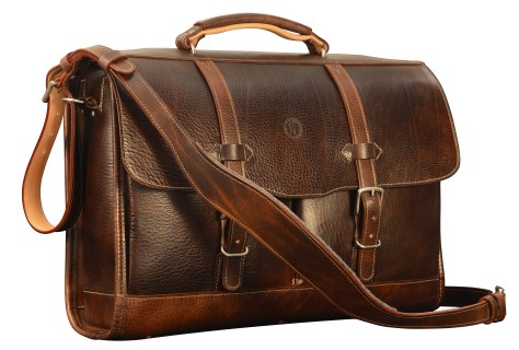 Hand-grained,-hand-colored-espresso-Flaptop-Bag-with-hand-grained-natural-trim;-17-x-12-x-4
