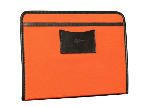 Hand-burnished-black-Padded-Panel-with-tangerine-lining,-eye-glasses-holder-and-shirt-pocket-organizer