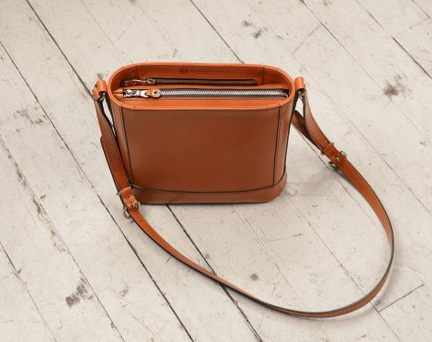 Hand-burnished chestnut Shoulder Bag with long strap; 10 x 10 x 3''-topdown-1