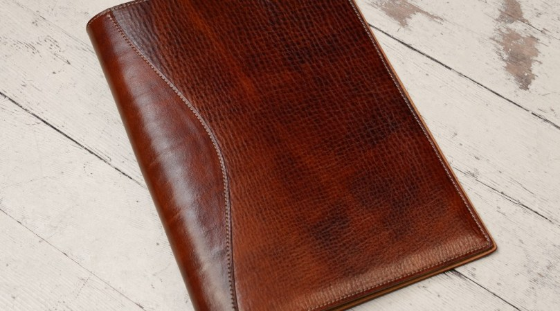 Hand-Grained Hand-Colored Sienna All-Leather Writing Pad