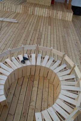 Projekt meyouwedo vor dem Grassimuseum. Zu sehen ist ein Stuhlkreis aus selbstgebauten Stühlen.