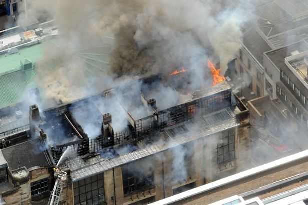 Glasgow School of Art fire aerial view
