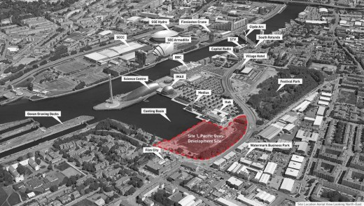Aerial View of the Pacific Quay Development Site