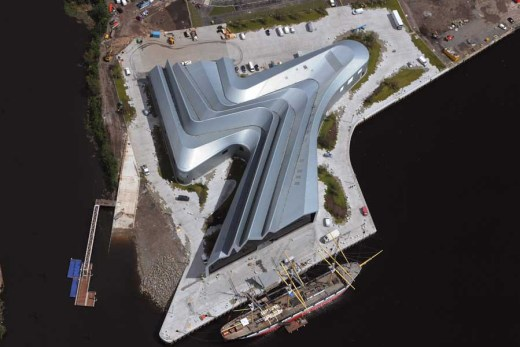 Riverside Museum building Glasgow aerial
