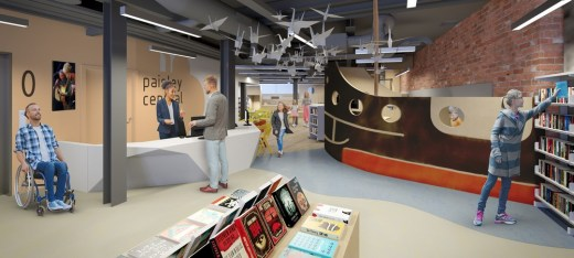 Paisley Learning and Cultural Hub reception interior design