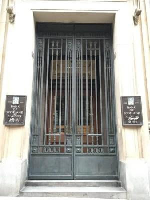 Bank of Scotland Glasgow Chief Office entrance gates