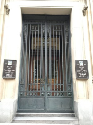 Bank of Scotland Glasgow Chief Office entrance gates