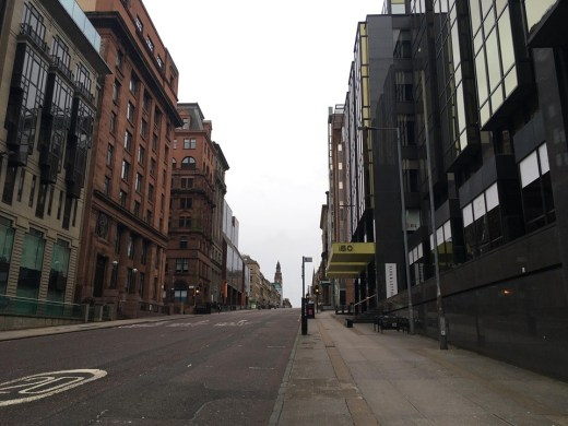 empty Glasgow street due to Covid-19 pandemic 2020