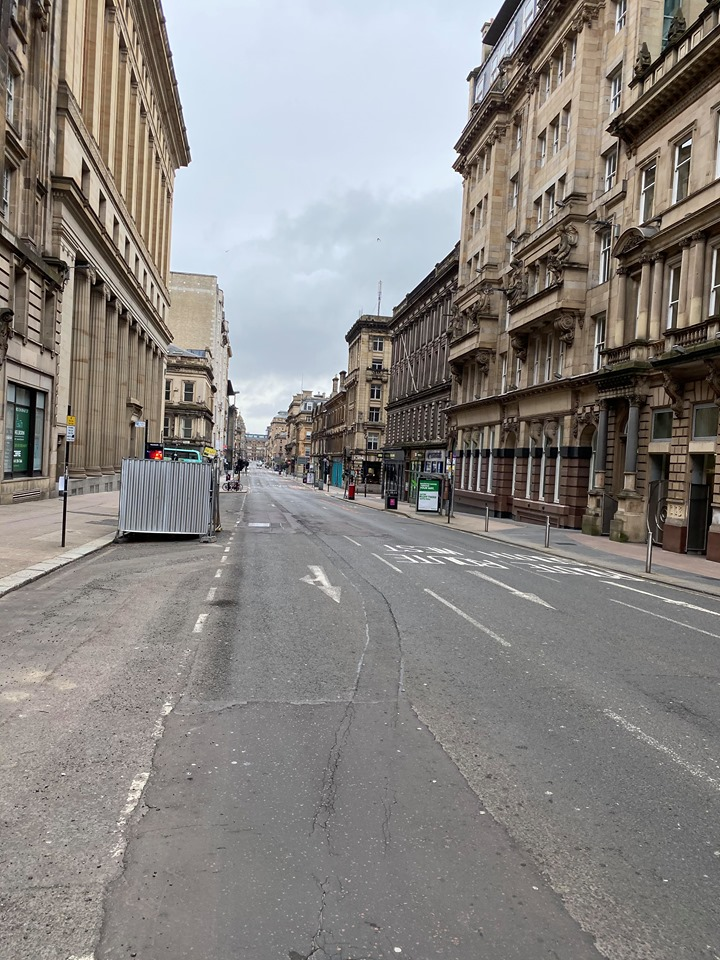 empty Glasgow streets due to Coronavirus pandemic April 2020