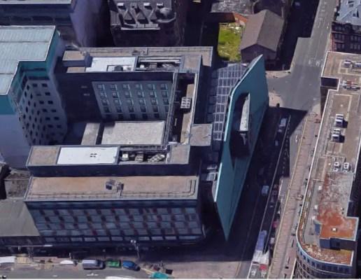 Radisson Hotel Glasgow building aerial view