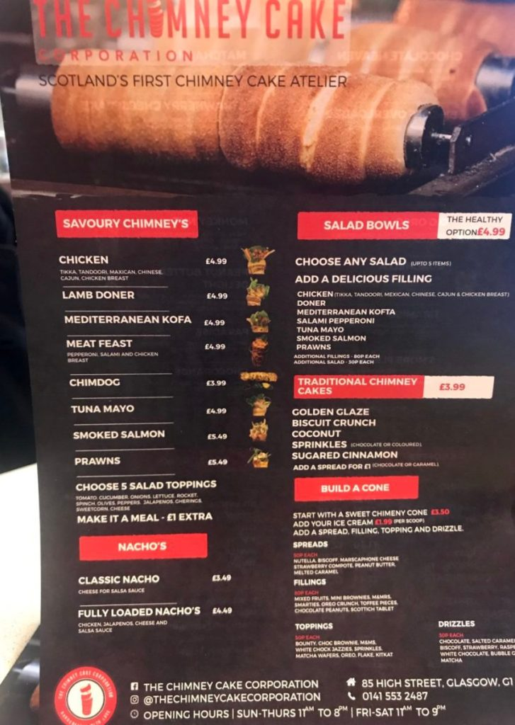 the chimney cake corporation glasgow menu