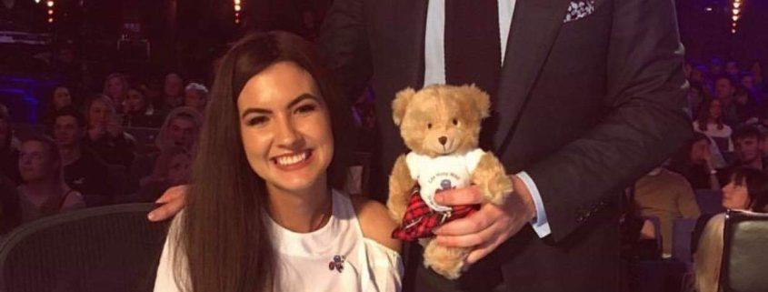 Cancer survivor Erin McCafferty with David Walliams at Britains' Got Talent auditions
