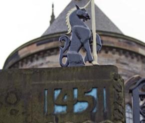 A metal unicorn statue.