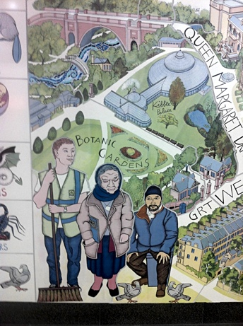 Photo: Alasdair Gray Mural Hillhead Tube Station.