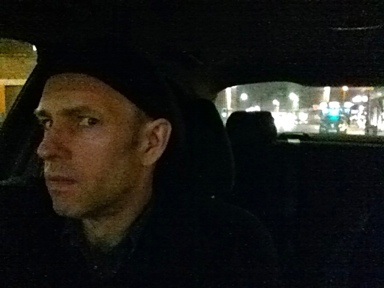 Photo: Jim in the getaway car.