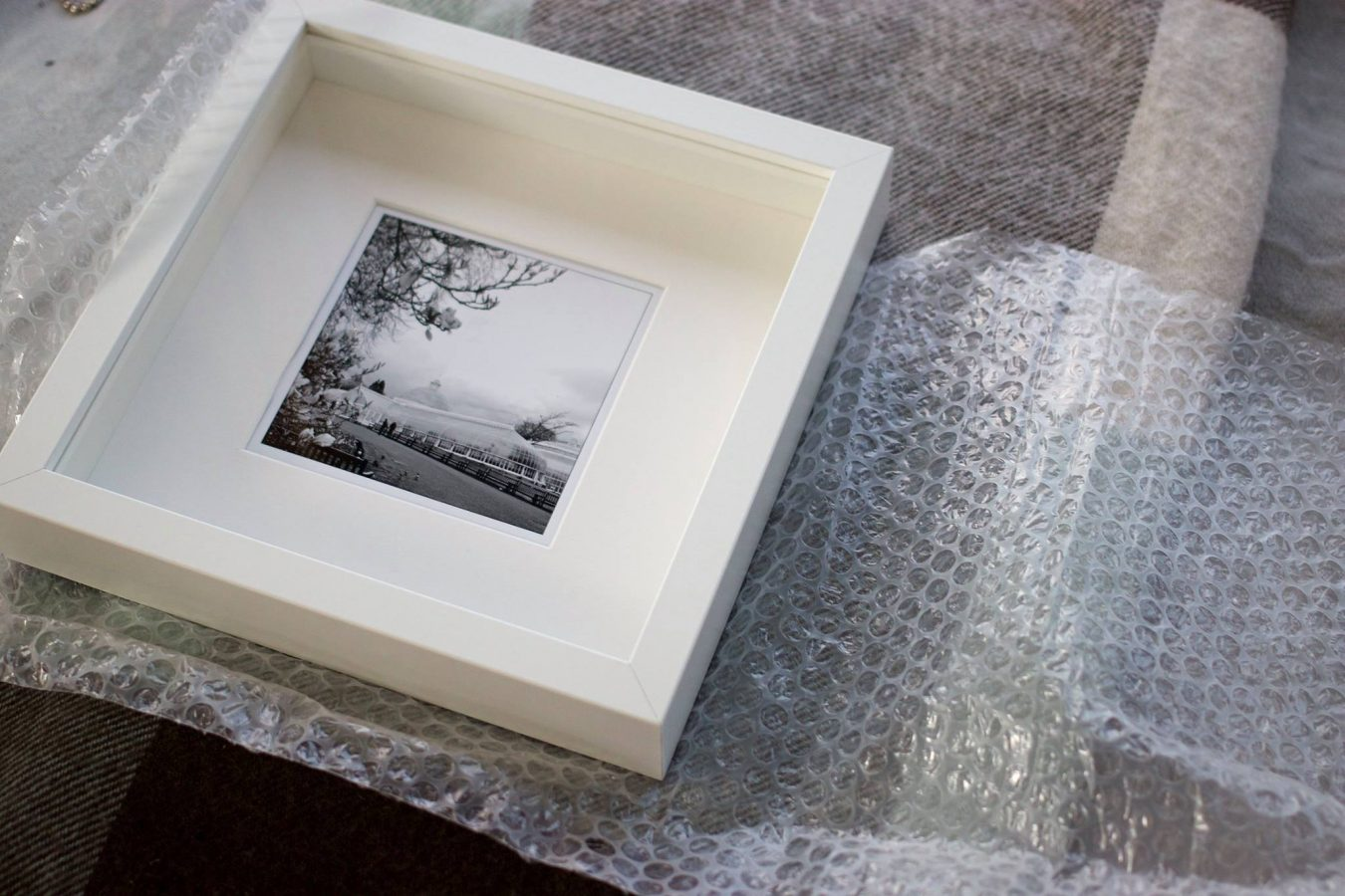 Packaging up a framed photo of The Kibble Palace