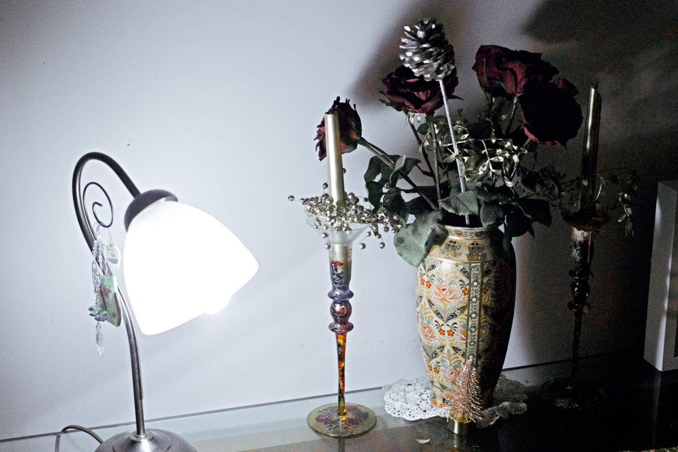 Just because. Table lamp, candle vase