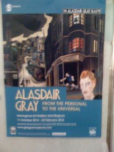 a gray poster