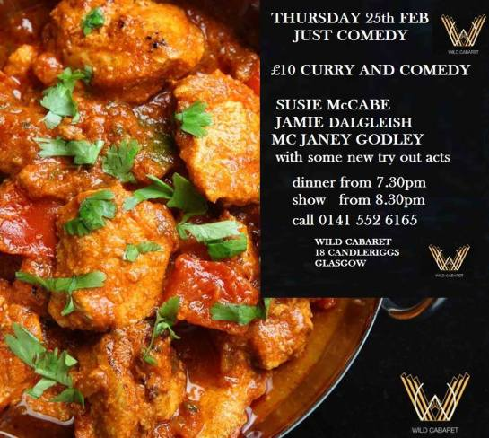 wild caberet comedy and curry thurs 25