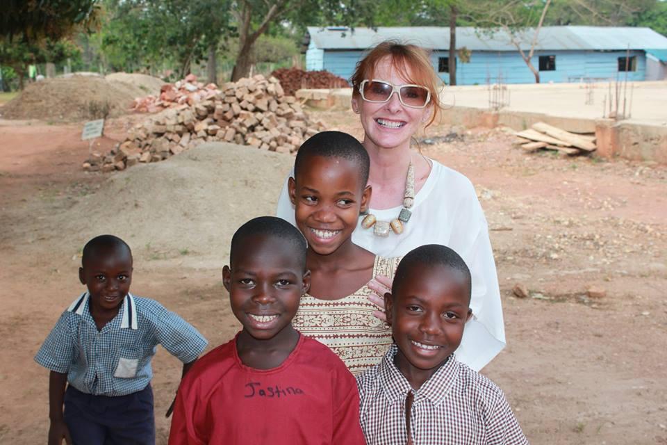 Michaela and school children