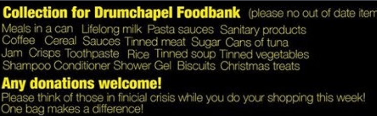 collection for drumchapel foodbank