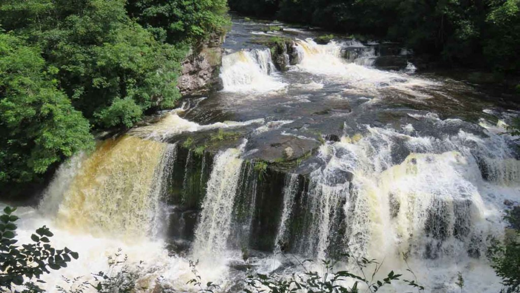 Waterfalls above New Lanark. River Clyde