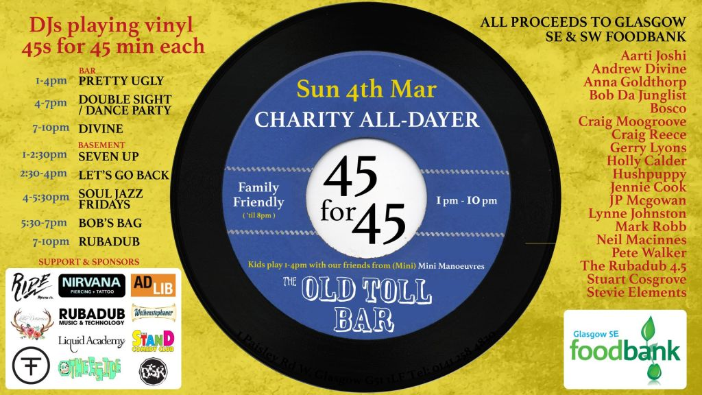 45s For 45 All Day Fundraiser Old Toll Bar Glasgow
