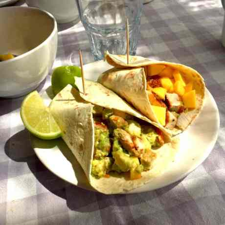 healthy chicken guacomole wrap