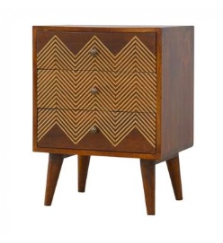 brass inlay bedside table