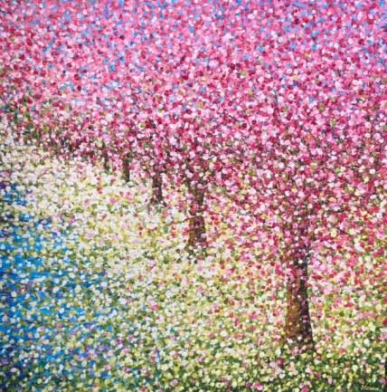 row pink blossom