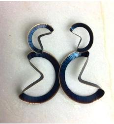 blue folded hoop earring