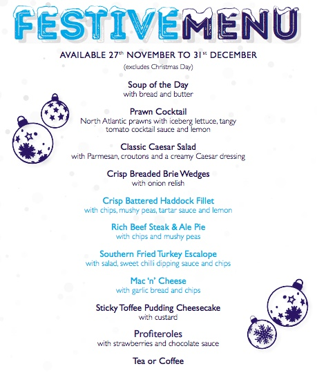 festive menu chippy down the lane