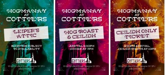three hogmanay options cottiers