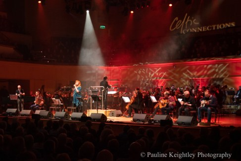 Glasgow, Scotland. 25th January 2020. Celtic Connections festival 2020. Eddi Reader, Scottish singer, performed at the Auld Lang Syne concert for Robert Burns night, at the Glasgow concert hall, along with the Scottish Chamber orchestra and part of Celtic Connections 2020. Photo Pauline Keightley/ Alamy News.