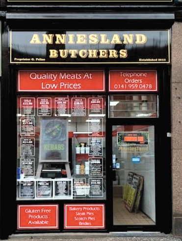 anniesland butchers shop front