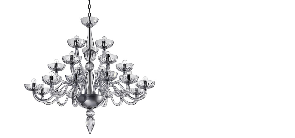 Italian art glass chandeliers for precious collections