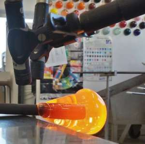 Recording the Sounds of Glassmaking Process for Makers Marks project. Image by David Faleris